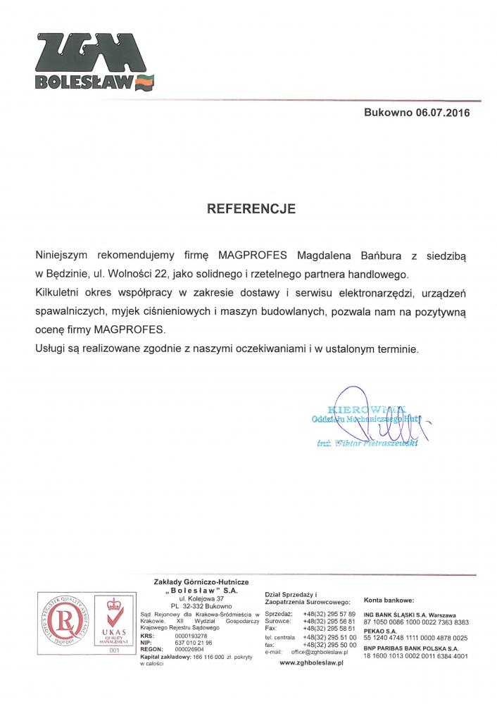 Referencje ZGH Bolesław
